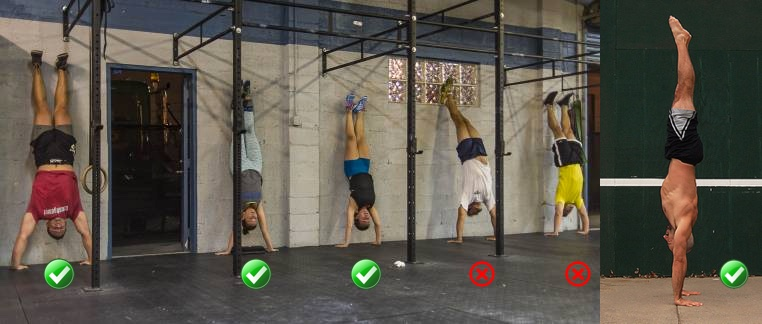 Handstand resting position. Against a wall and free standing.